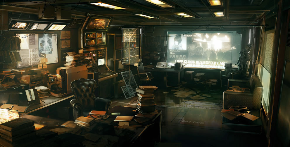 A cluttered office in the upcoming Deus Ex: Human Revolution
