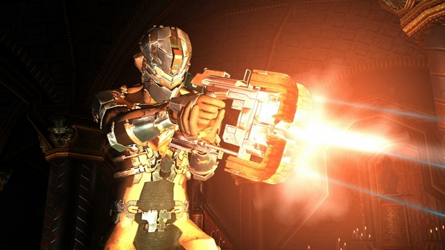 Isaac blasts away in Dead Space