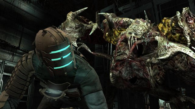 A necromorph lurks behind Isaac in Dead Space.
