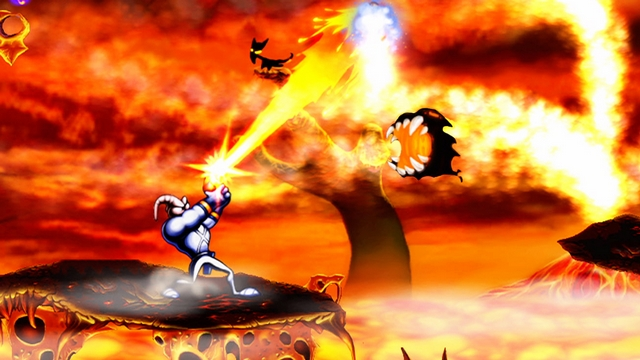 Earthworm Jim battles specters in Heck.