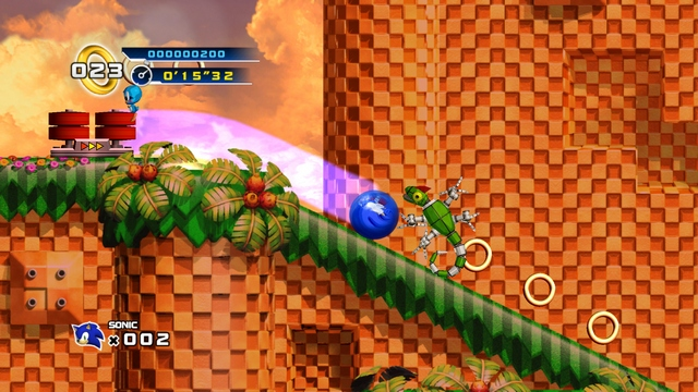 Sonic spins in Sonic the Hedgehog 4