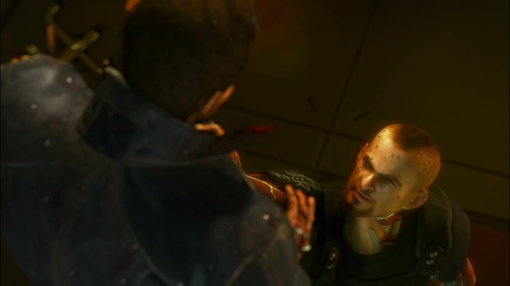 Deus Ex: Human Revolution - Jensen in a bad spot.