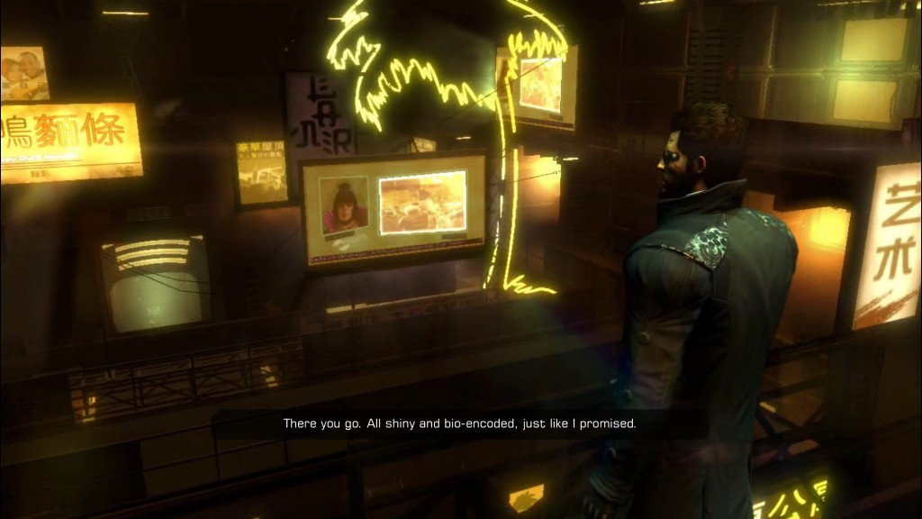 Deus Ex: Human Revolution - Jensen looks out on the streets of Hengsha