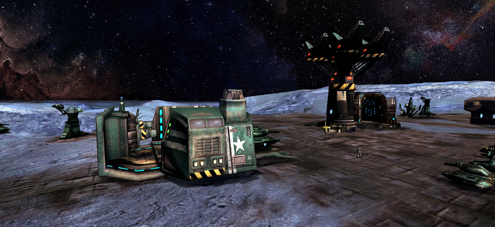 A recycler rests at its base in Battlezone 98 Redux.